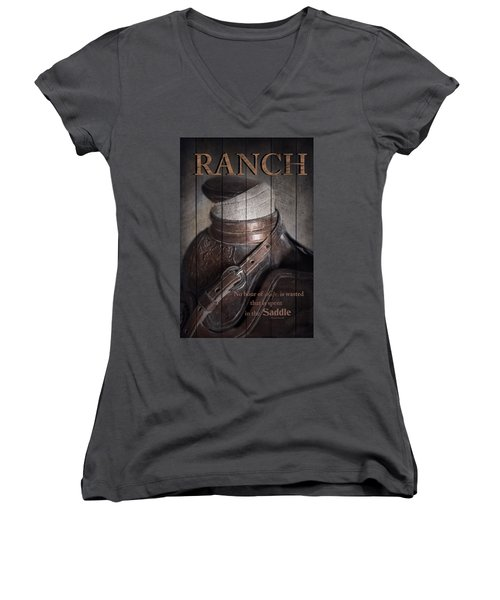 Women's V-Neck T-Shirt (Junior Cut) featuring the photograph Ranch by Robin-Lee Vieira