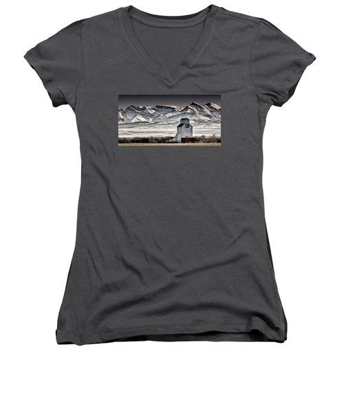 Ranchland Elevator Women's V-Neck T-Shirt (Junior Cut) by Brad Allen Fine Art