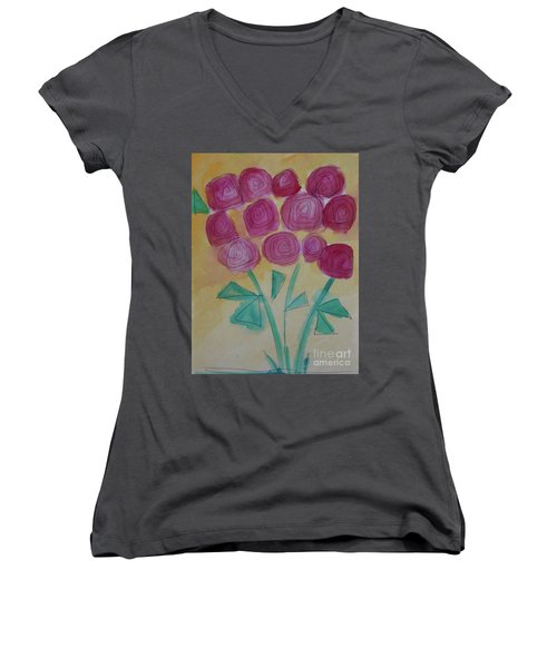 Women's V-Neck T-Shirt (Junior Cut) featuring the painting Randi's Roses by Kim Nelson