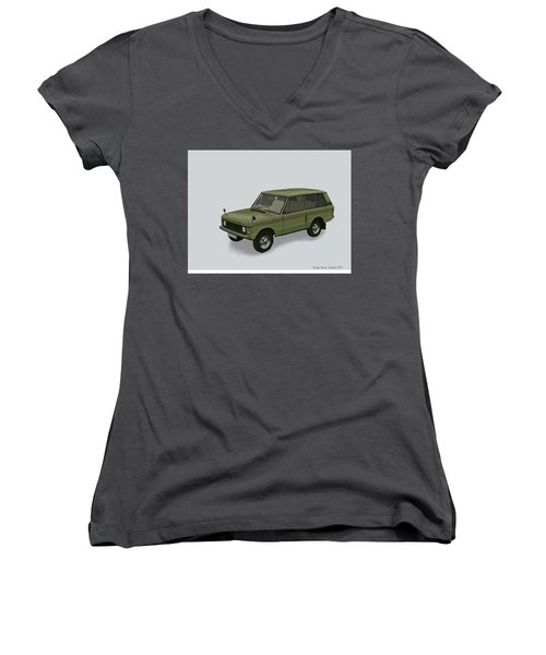 Women's V-Neck T-Shirt (Junior Cut) featuring the mixed media Range Rover Classical 1970 by TortureLord Art