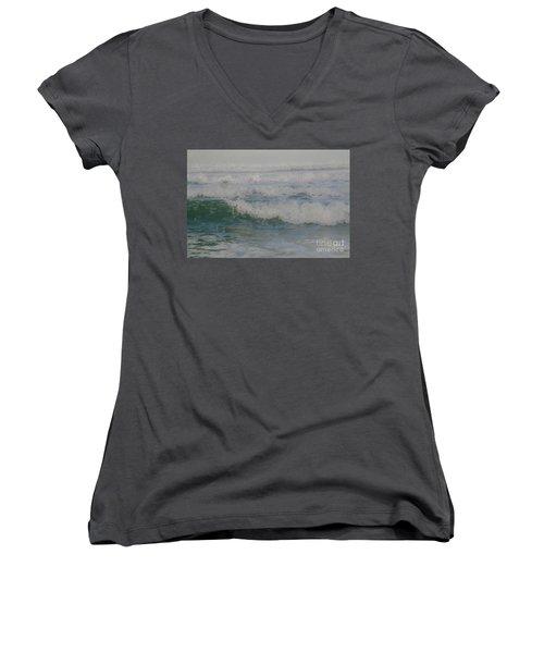 Rapid Waves Women's V-Neck T-Shirt (Junior Cut) by Iris Greenwell