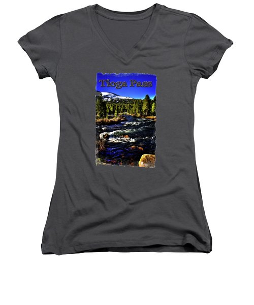 Rapids Along The Tioga Pass Road Women's V-Neck T-Shirt (Junior Cut) by Roger Passman
