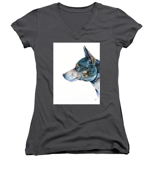 Women's V-Neck T-Shirt (Junior Cut) featuring the painting Rat Terrier by Zaira Dzhaubaeva