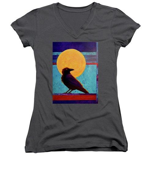 Raven Moon Women's V-Neck T-Shirt (Junior Cut) by Nancy Jolley