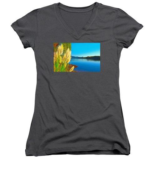 Ravenna Grass Smith Mountain Lake Women's V-Neck T-Shirt (Junior Cut) by The American Shutterbug Society