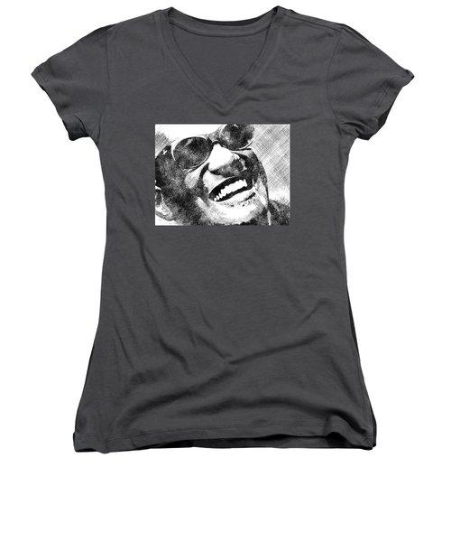 Ray Charles Bw Portrait Women's V-Neck T-Shirt (Junior Cut) by Mihaela Pater