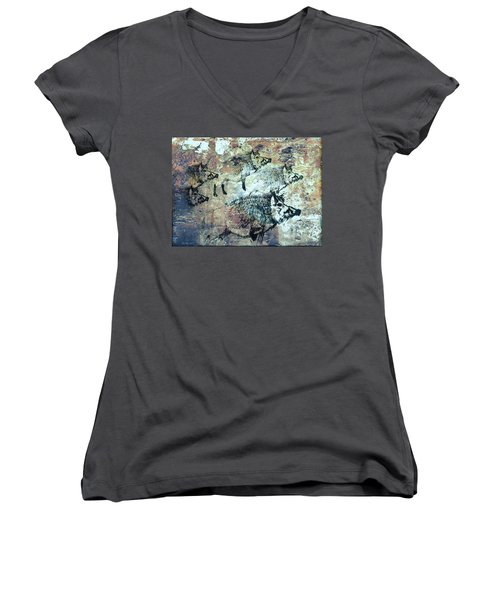 Wild Boars Women's V-Neck T-Shirt (Junior Cut) by Larry Campbell