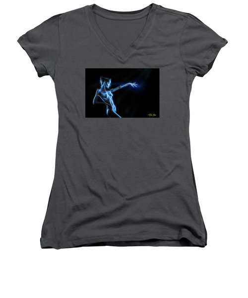 Women's V-Neck T-Shirt featuring the photograph Reaching Figure Darkness by Rikk Flohr