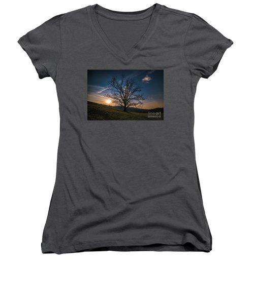 Reaching For The Moon Women's V-Neck T-Shirt (Junior Cut) by Robert Loe