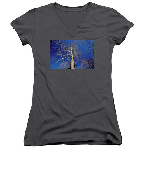 Women's V-Neck T-Shirt (Junior Cut) featuring the photograph Reaching For The Sky by Suzanne Stout