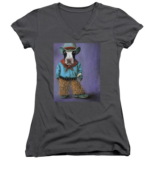 Women's V-Neck T-Shirt (Junior Cut) featuring the painting Real Cowboy by Leah Saulnier The Painting Maniac