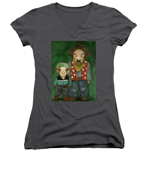 Women's V-Neck T-Shirt (Junior Cut) featuring the painting Real Cowboys 3 by Leah Saulnier The Painting Maniac