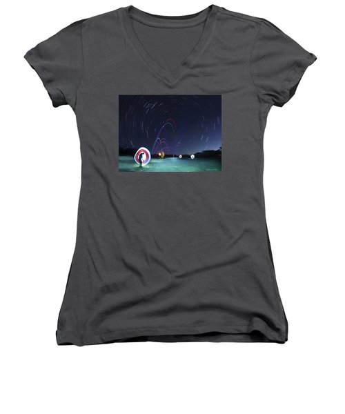 Real Golfers Even Golf At Night Women's V-Neck T-Shirt (Junior Cut) by Andrew Nourse