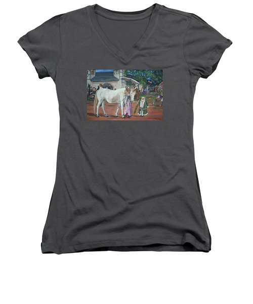Real Life In Her Dreams Women's V-Neck T-Shirt (Junior Cut) by Bryan Bustard