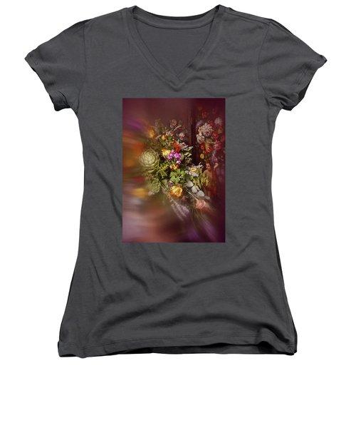 Floral Arrangement No. 1 Women's V-Neck T-Shirt (Junior Cut) by Richard Cummings