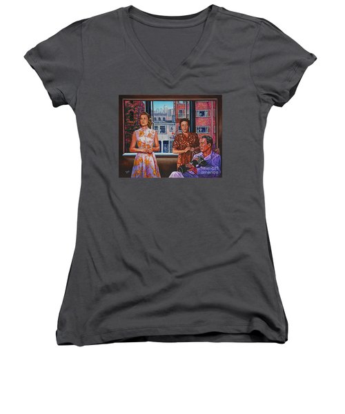Women's V-Neck T-Shirt (Junior Cut) featuring the painting Rear Window by Michael Frank
