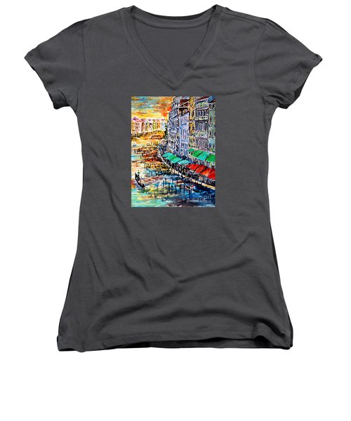 Recalling Venice 03 Women's V-Neck T-Shirt (Junior Cut) by Alfred Motzer