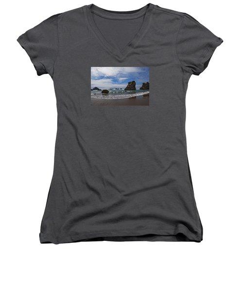 Receding Wave Women's V-Neck T-Shirt (Junior Cut) by Adria Trail