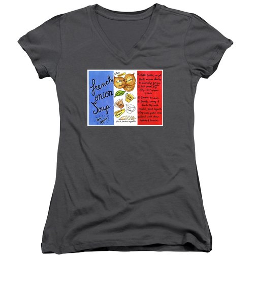 Recipe French Onion Soup Women's V-Neck (Athletic Fit)