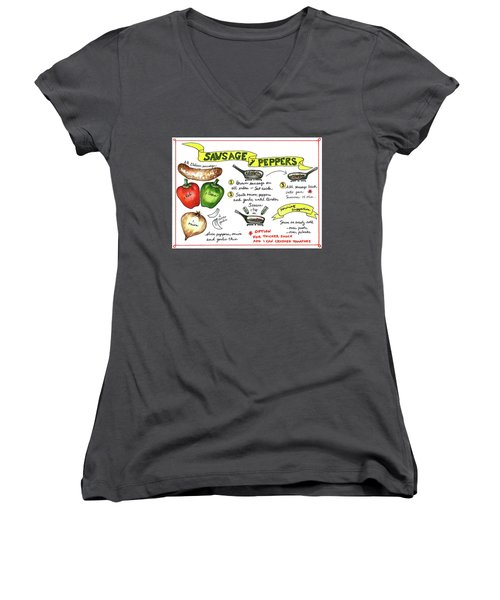 Recipe Sausage And Peppers Women's V-Neck (Athletic Fit)
