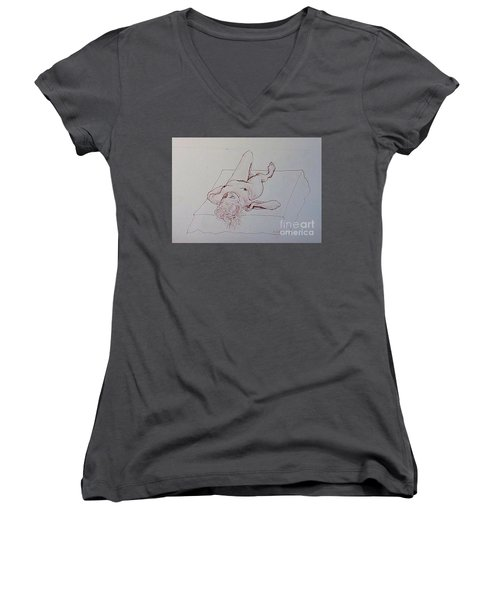 Reclining Nude Lady Women's V-Neck (Athletic Fit)