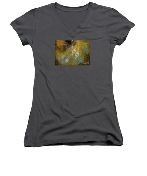 Women's V-Neck T-Shirt (Junior Cut) featuring the digital art Recovering by Sipo Liimatainen