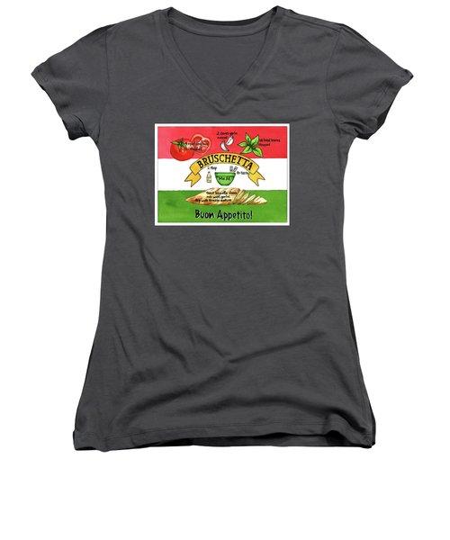 Recpe-bruschetta Women's V-Neck T-Shirt (Junior Cut)