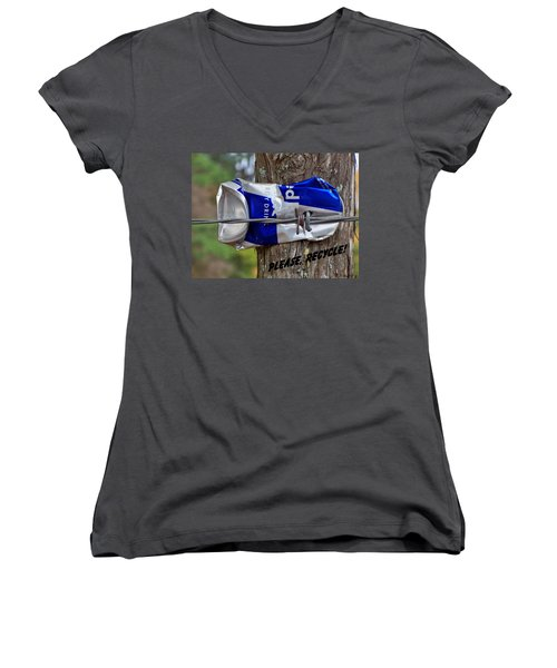 Women's V-Neck T-Shirt (Junior Cut) featuring the photograph Recycle Please by Betty Northcutt