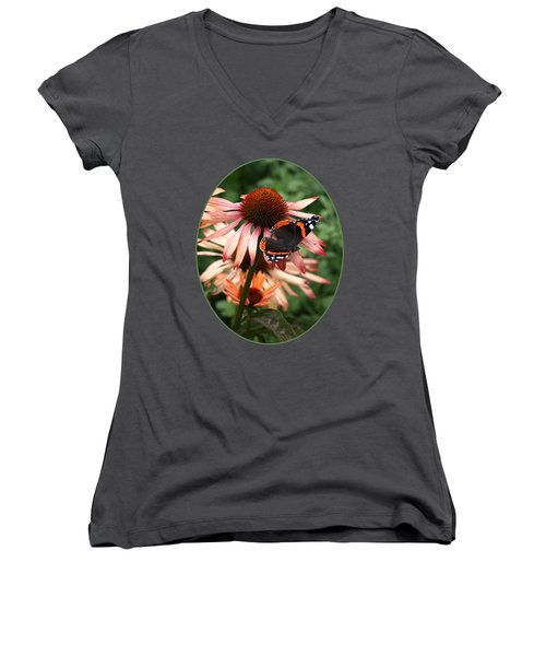Red Admiral On Coneflower Women's V-Neck T-Shirt (Junior Cut) by Gill Billington