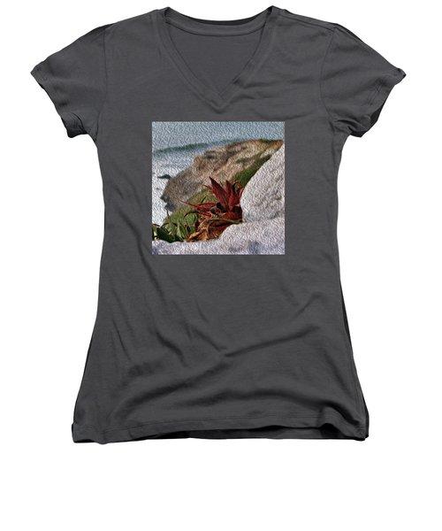 Red Aloe Vera By The Sea Women's V-Neck
