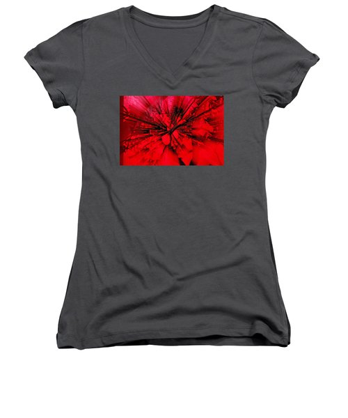 Women's V-Neck T-Shirt (Junior Cut) featuring the photograph Red And Black Explosion by Susan Capuano