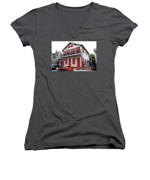 Women's V-Neck T-Shirt (Junior Cut) featuring the photograph Red And Tan House by Steven Spak