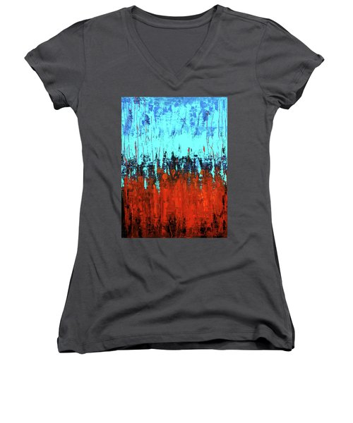 Women's V-Neck featuring the painting Red And Turquoise Abstract by Asha Sudhaker Shenoy