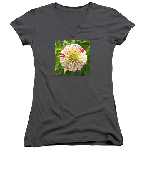 Red And White Flower Women's V-Neck (Athletic Fit)