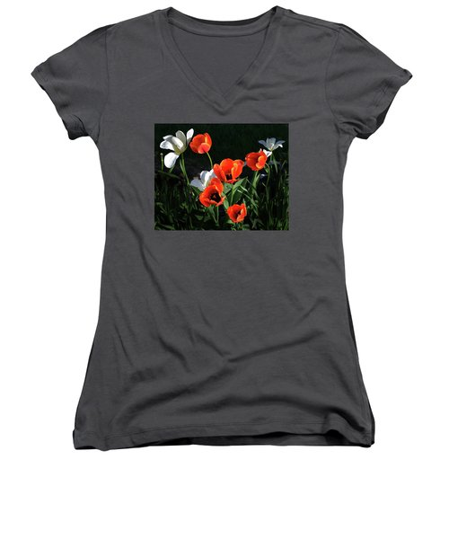 Women's V-Neck T-Shirt (Junior Cut) featuring the photograph Red And White Tulips by Kathleen Stephens