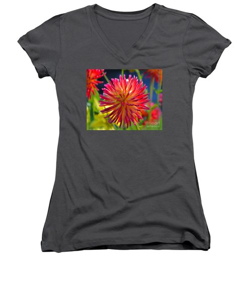 Red And Yellow Dahlia Women's V-Neck T-Shirt