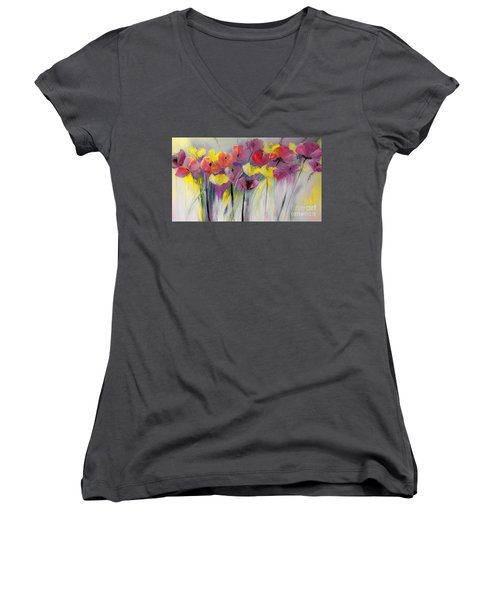 Red And Yellow Floral Field Painting Women's V-Neck T-Shirt (Junior Cut) by Lisa Kaiser