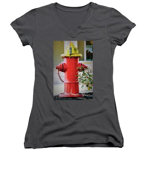 Red And Yellow Hydrant Women's V-Neck (Athletic Fit)