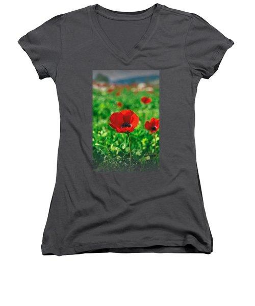 Red Anemone Coronaria T-shirt Women's V-Neck T-Shirt (Junior Cut) by Isam Awad