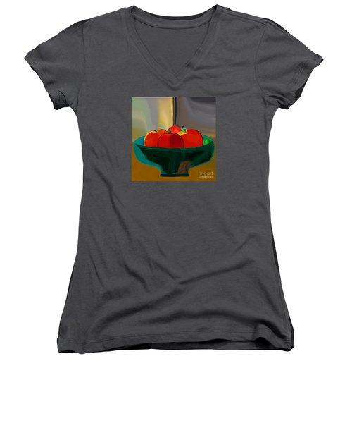 Red Apples Fruit Series Women's V-Neck T-Shirt (Junior Cut) by Haleh Mahbod
