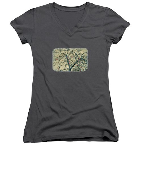 Red Apples In Empty Garden Women's V-Neck T-Shirt (Junior Cut) by Konstantin Sevostyanov