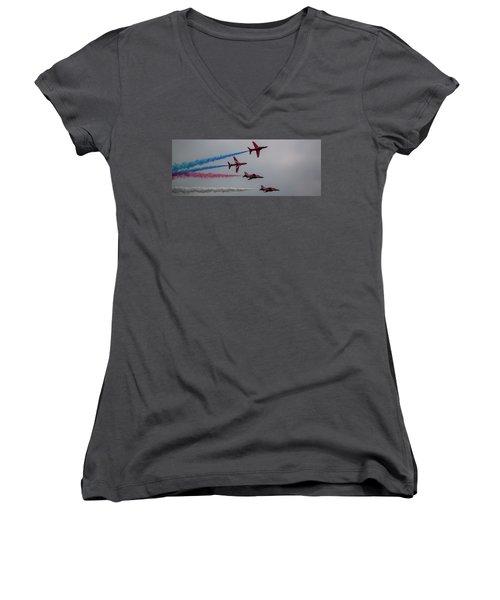 Red Arrows Break Off - Teesside Airshow 2016 Women's V-Neck T-Shirt (Junior Cut) by Scott Lyons