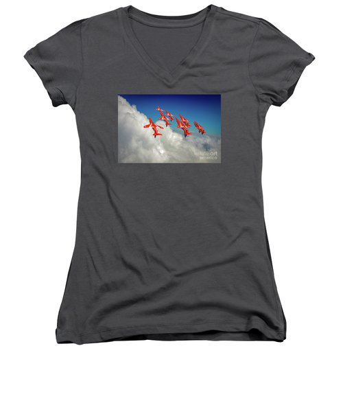 Women's V-Neck T-Shirt featuring the photograph Red Arrows Sky High by Gary Eason