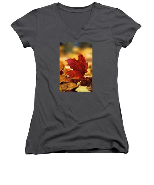 Women's V-Neck T-Shirt (Junior Cut) featuring the photograph Red Autumn by Gary Bridger