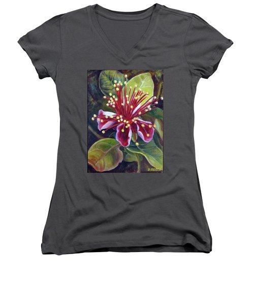 Pineapple Guava Flower Women's V-Neck T-Shirt