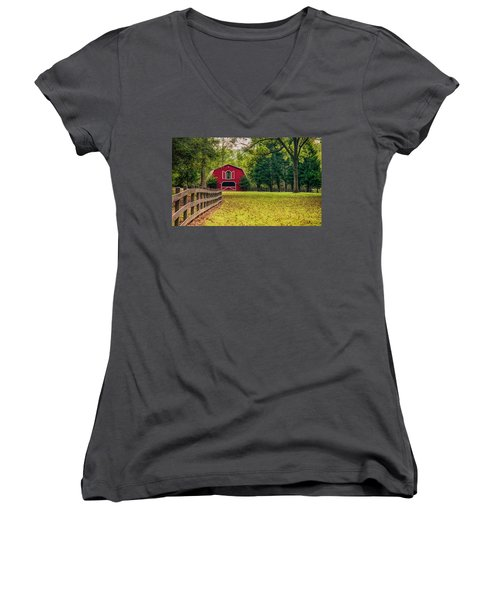 Red Barn 2 Women's V-Neck (Athletic Fit)