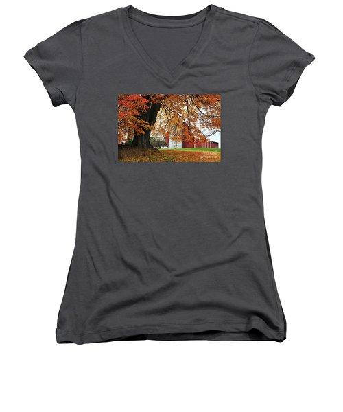 Red Barn In Autumn Women's V-Neck