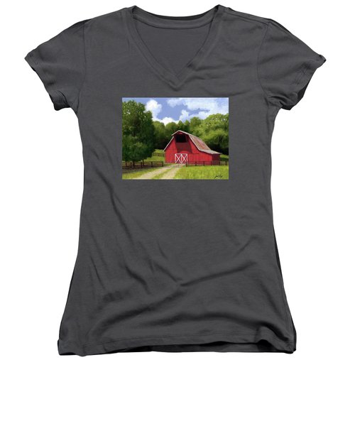 Red Barn In Franklin Tn Women's V-Neck (Athletic Fit)