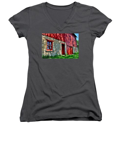 Red Barn In The Shade Women's V-Neck (Athletic Fit)