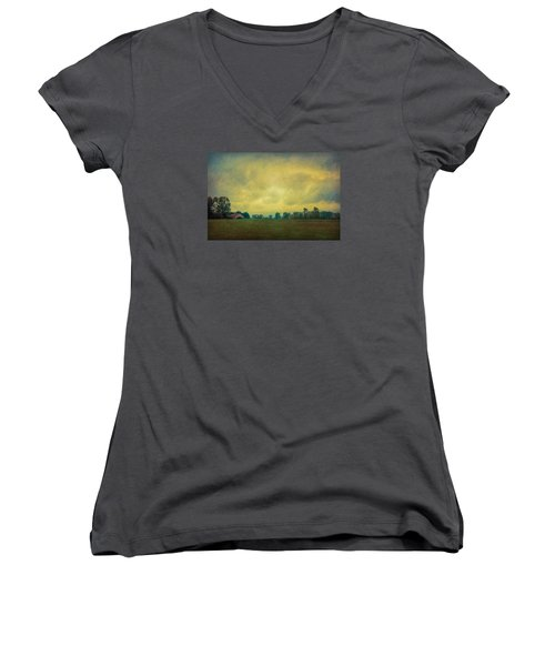 Red Barn Under Stormy Skies Women's V-Neck T-Shirt